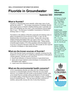 Fluoride in Groundwater