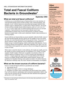 Fecal & E-coli Bacteria in Groundwater